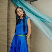 Bộ áo và chân váy tơ tằm xanh light blue