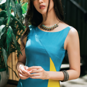 đầm tơ tằm phối màu vàng xanh
