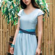 Đầm tơ tằm xanh sky